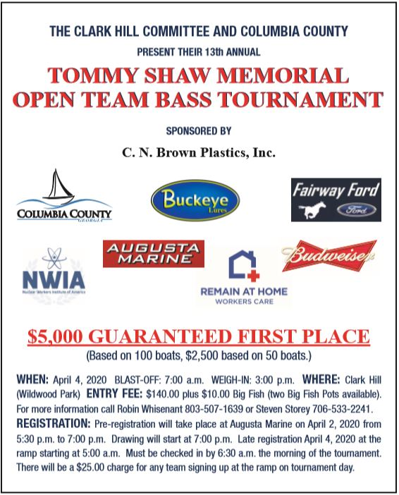 Tommy Shaw Memorial bass fishing tournament.